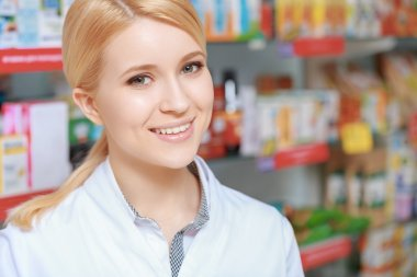 Helpful and smiling pharmacist