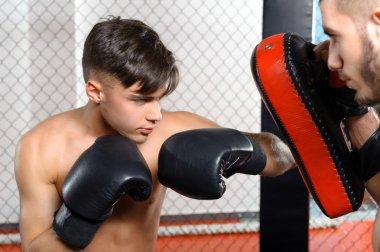 Boxer kicks punching pad