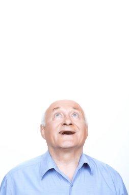 Joyful grandfather keeping head up