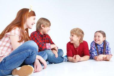 Children having fun on the floor
