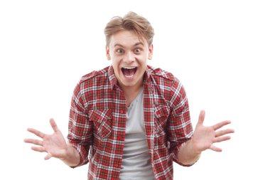 Emotional guy showing surprise