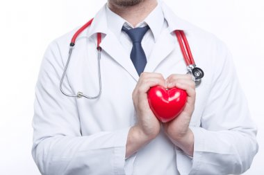 Nice cardiologist holding heart