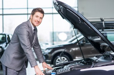 Professional sale assistant working  in auto show