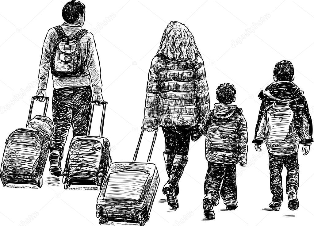 Vector Feliz Viaje Familia: Vector De Stock © Chronicler101