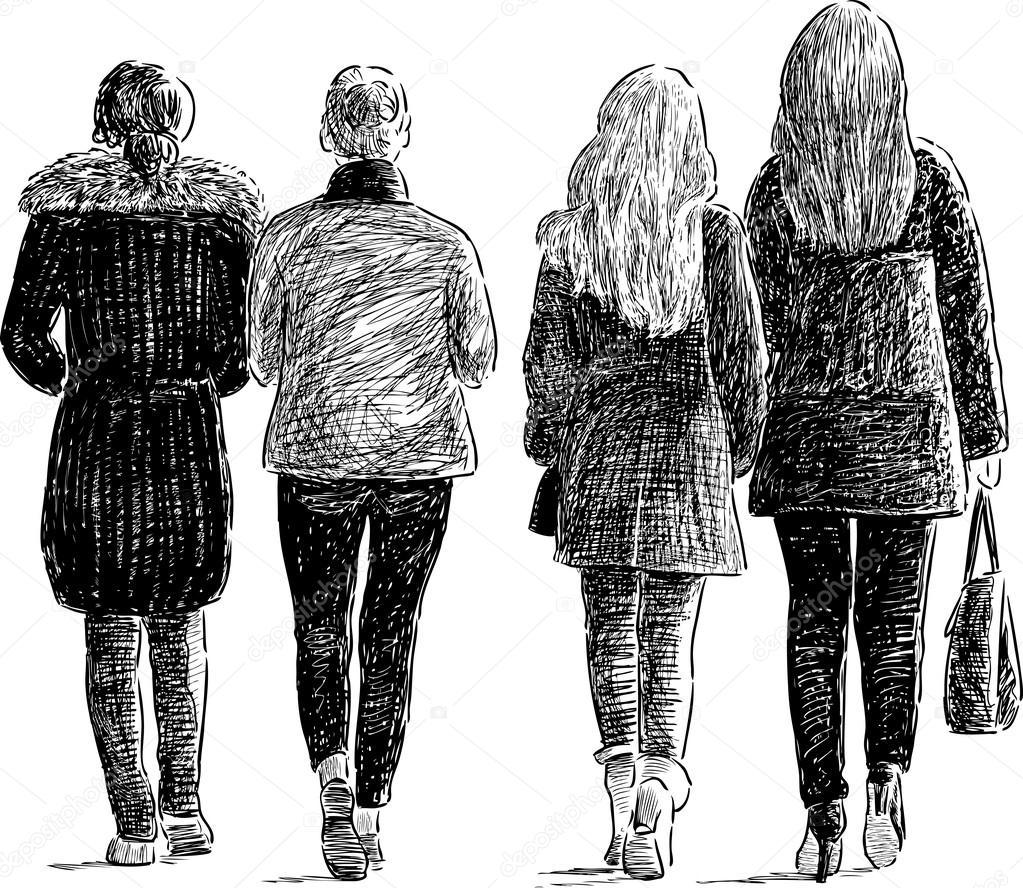 mujeres caminando dibujo chicas caminando por una calle. Black Bedroom Furniture Sets. Home Design Ideas