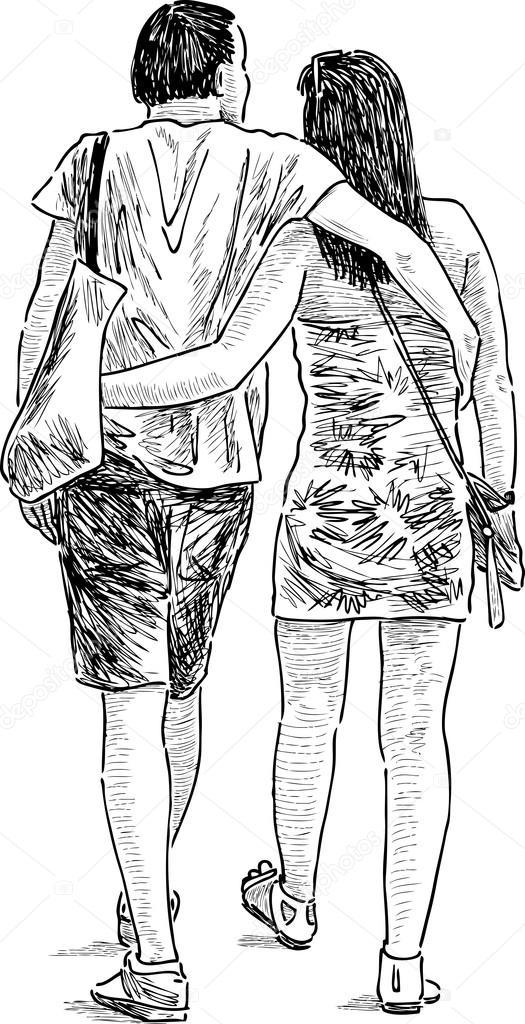 couple d 39 amoureux sur une promenade image vectorielle. Black Bedroom Furniture Sets. Home Design Ideas