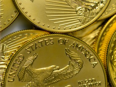 US dollar gold coins together in collage
