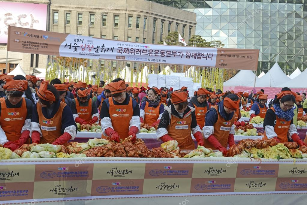 Seoul. November 16, 2014. The recently held Kimchi Making & Sharing Festival involves the important Korean tradition of Gimjang, to ensure families have enough kimchi to get through the long winter.
