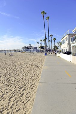 Beach scene with sand and sun in southern California