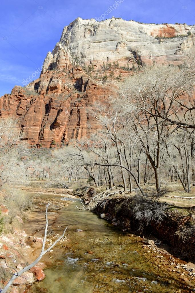 Red rock mountain landscape in Zion National Park, Utah