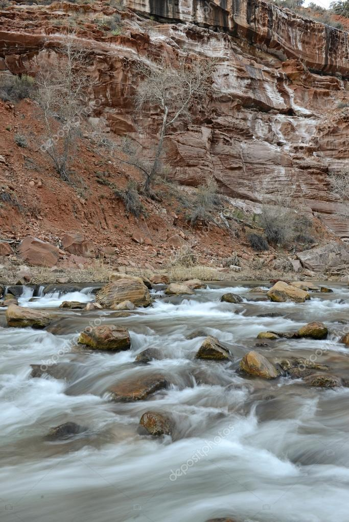 River movement in Zion National Park, Utah