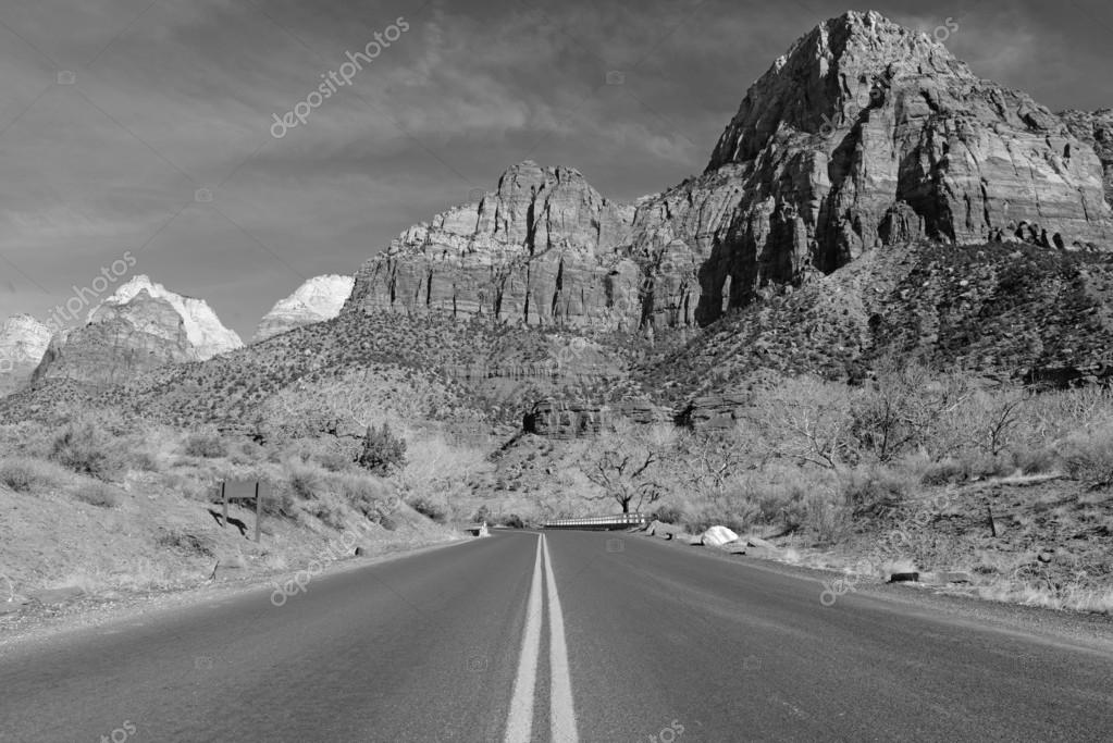 Black and white landscape of Zion National Park