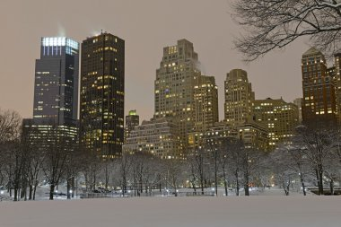 Manhattan skyline after snowstorm, New York City