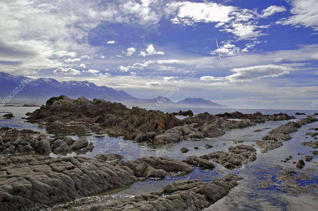 Rugged coastal landscape in Kaikoura, New Zealand