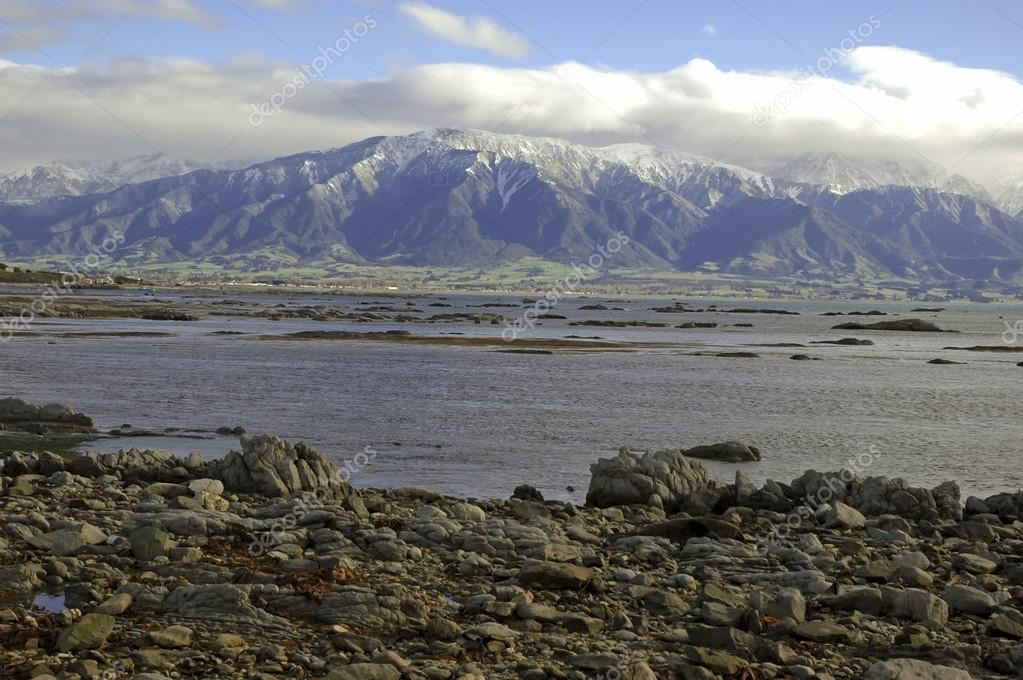 Rugged Coastal Landscape In Kaikoura New Zealand Stock