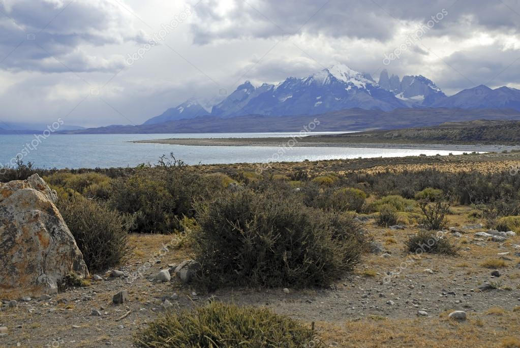 Rugged mountain landscape in Torres del Paine, Chile, Patagonia