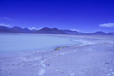 The Altiplano, a high altitude desert landscape with Laguna Verde in Bolivia near the Chilean border, South America