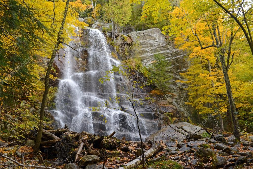 Waterfall with autumn foliage, Adirondacks, New York