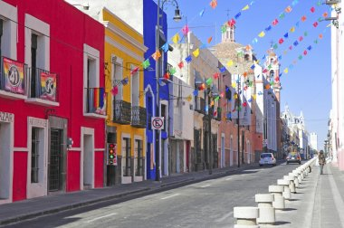Vibrant and Colorful Buildings of Puebla City, Mexico