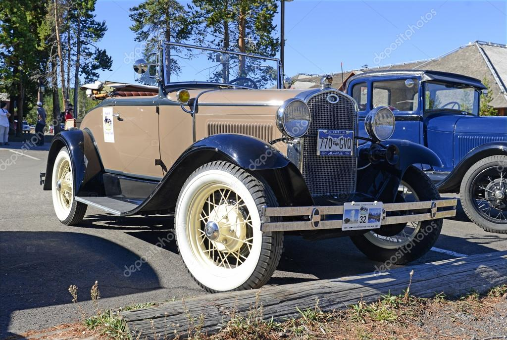 Model A Ford in parking lot