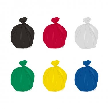 Garbage bag icons set. Plastic waste bags black, red, white, green, yellow and blue. icon