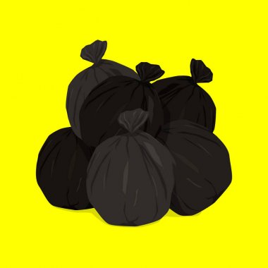 Collection of garbage in bags to be taken to the landfill. Black garbage can bagging. Ordering services for waste removal. icon