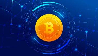 Mavi arka plan afiş şablon tasarımında Altın Bitcoin. Bitcoin parası. Uluslararası borsa. Ağ bitcoin pazarlama vektörü.