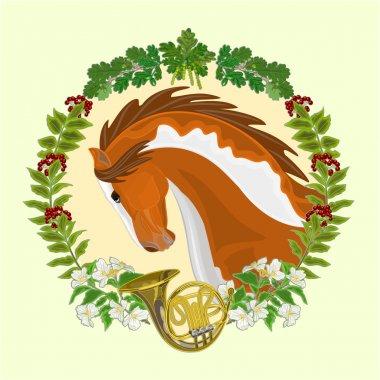 Piebald horse hunting theme vector