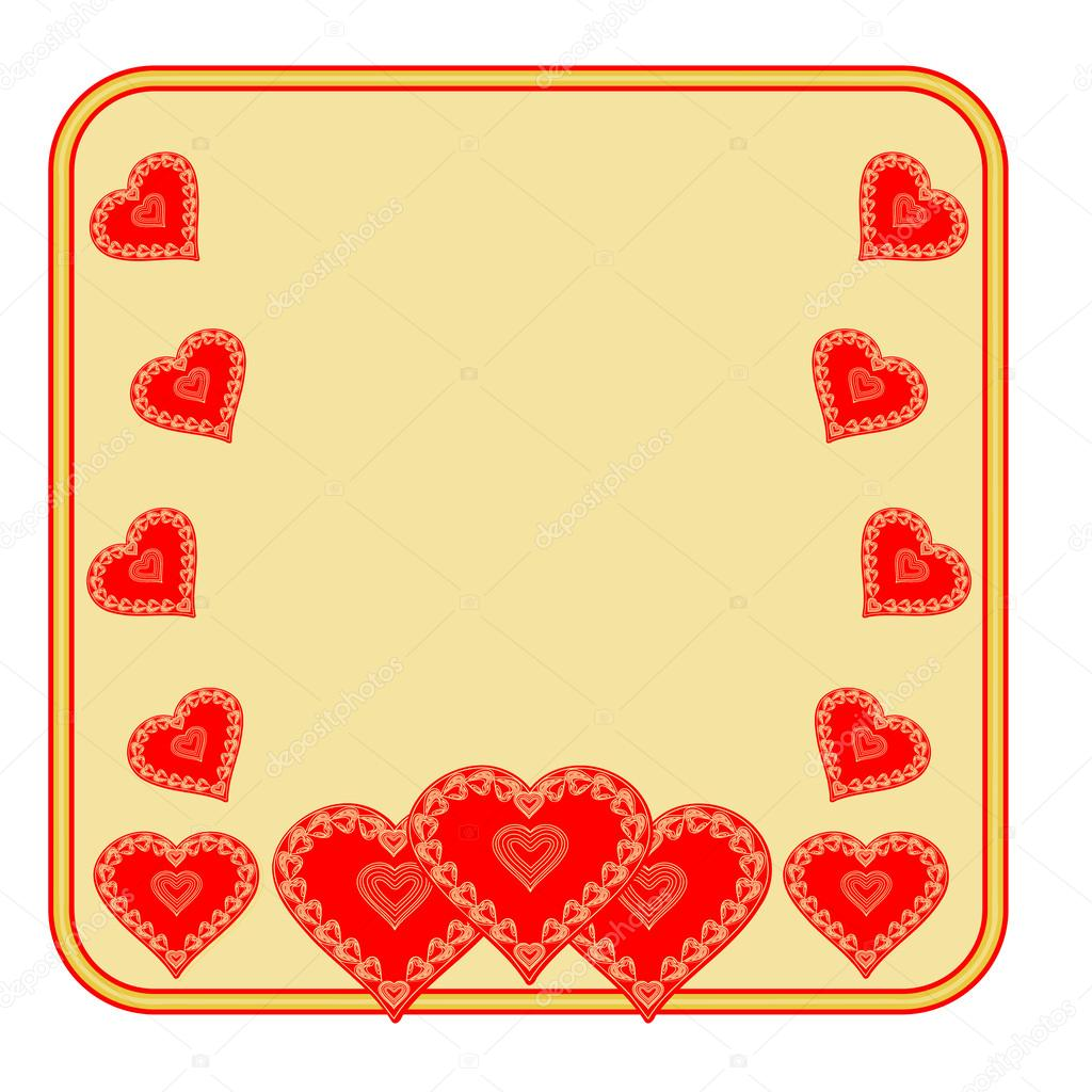 Valentine Tag Rahmen Herz gold hintergrund Vektor — Stockvektor ...
