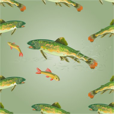 Seamless texture  brook trout  predator vector