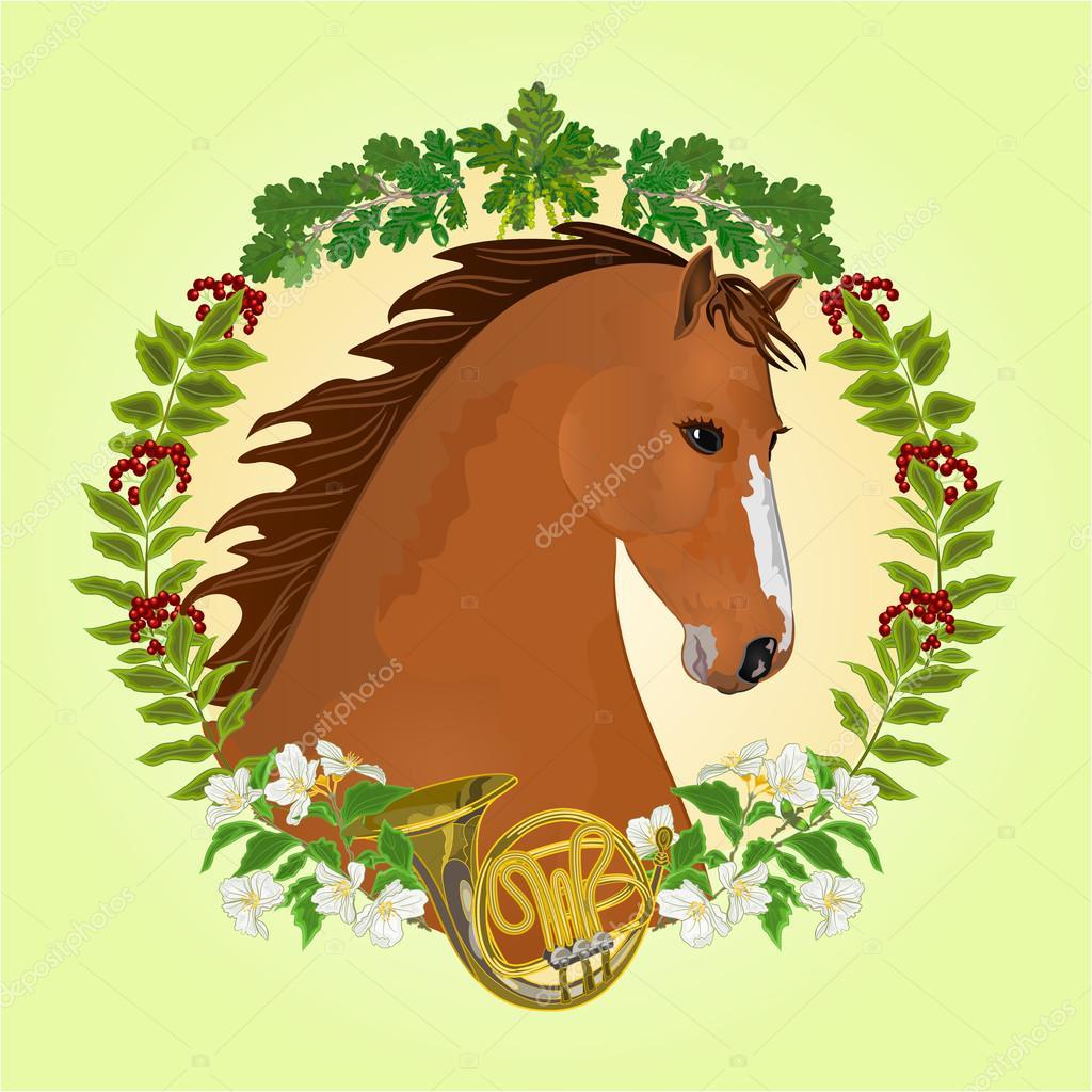 Chestnut horse hunting theme vector
