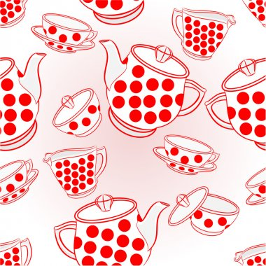 Seamless texture tea service with dots Vector
