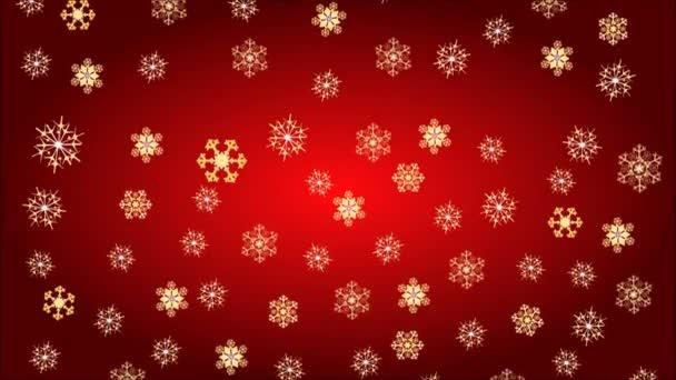Vánoční motiv zlaté vločky na červeném pozadí