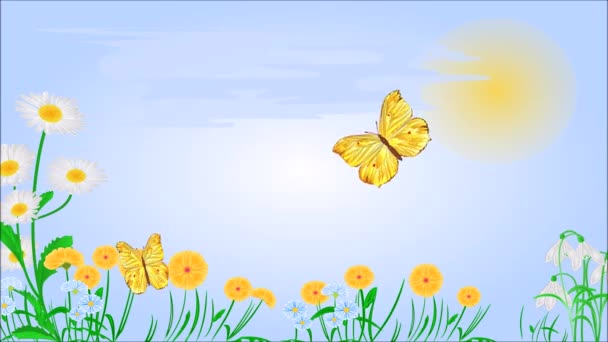 Yellow butterflies on spring meadow