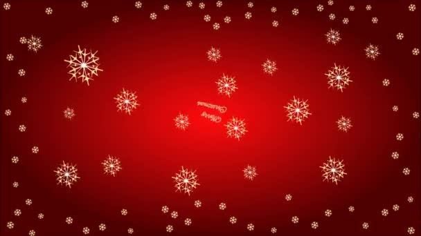 Veselé Vánoce červeným písmem s ohňostrojem video