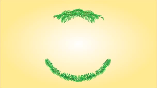 Merry Christmas wreath with pinecones green and gold leaves holly and yew video