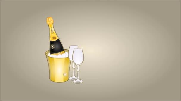 Boldog új évet éjfél ital és hópelyhek ezüst háttér videó