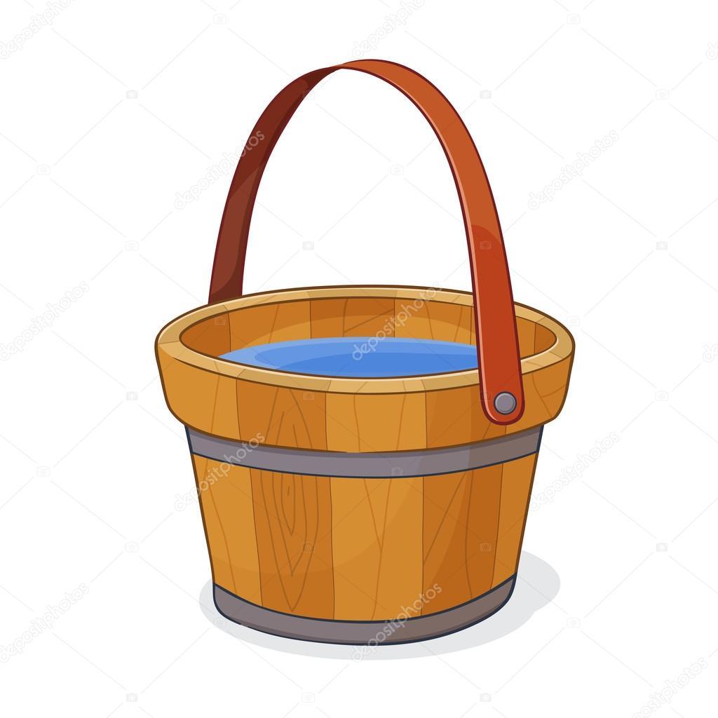 Рисунок ведра. Деревянные ведро с водой — Векторное ...