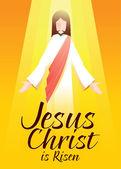 Jesus Christus ist auf orangefarbenem Hintergrund mit Typografie-Kunst auferstanden