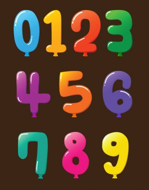 Collection of Colorful Baloon Shaped Numbers