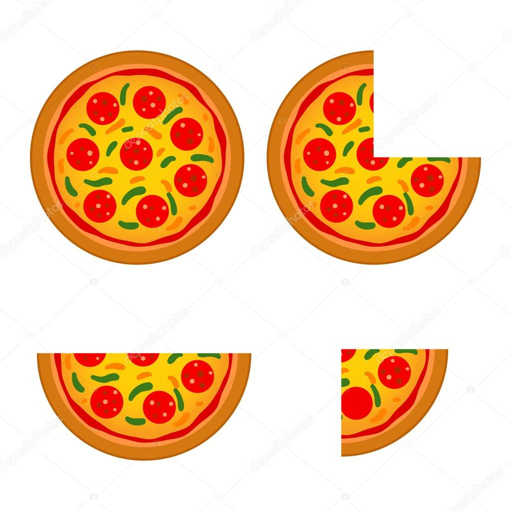 Delicious Italian Pizza in Whole And Sliced — Stock Vector ...