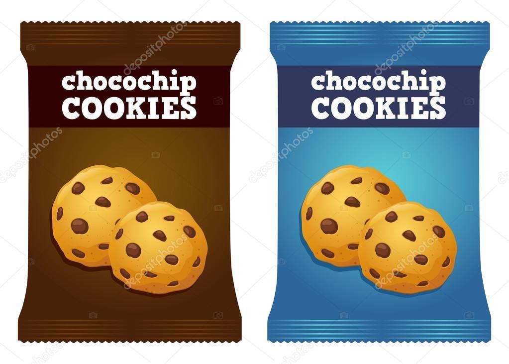 チョコレート チップ クッキー スナック包装ベクトル ストックベクター