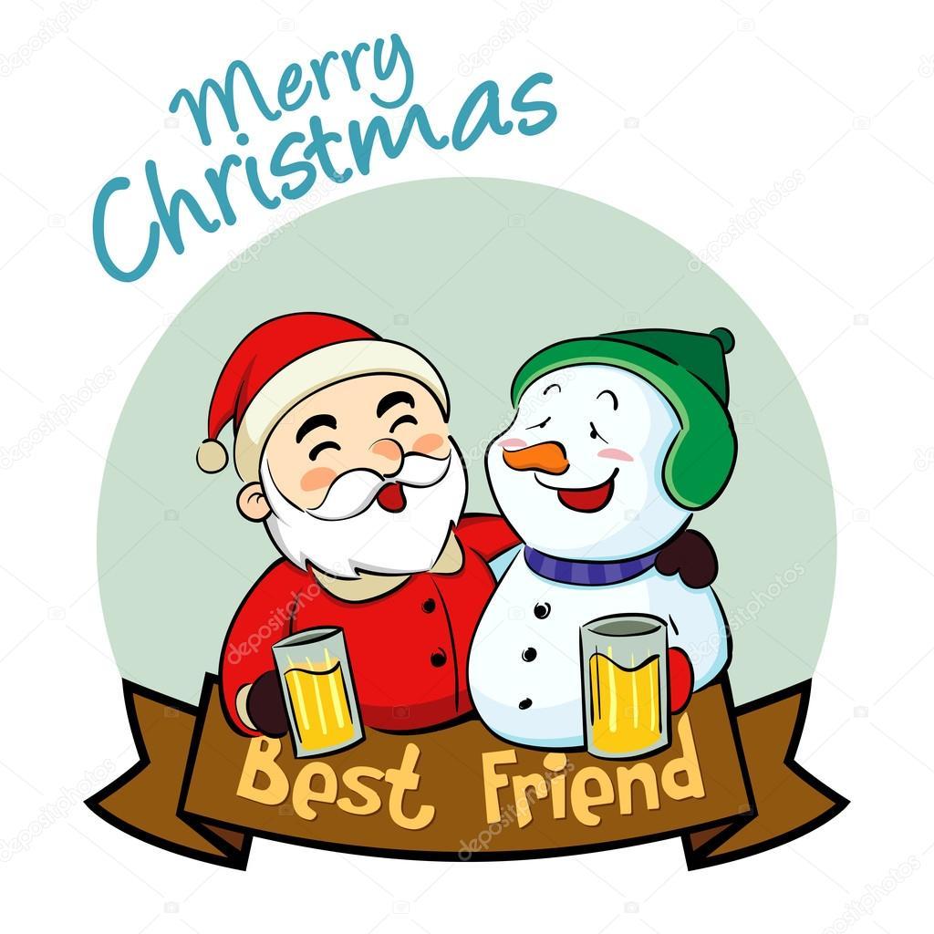 Frohe Weihnachten bester Freund — Stockvektor © yusak_p #89432784