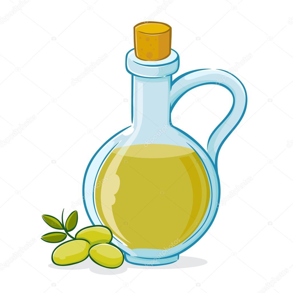 Illustrazione Vettoriale Di Olio Di Oliva In Bottiglia