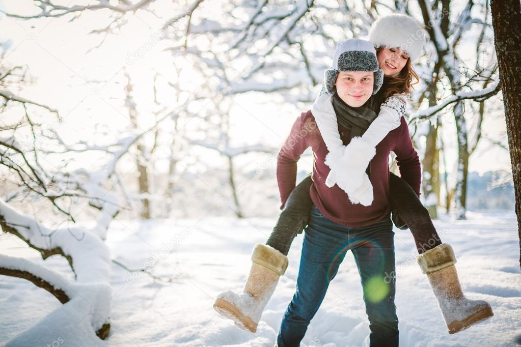 Kış Aşk Hikayesi Sevgi Kaç Kış Park Içinde Stok Foto