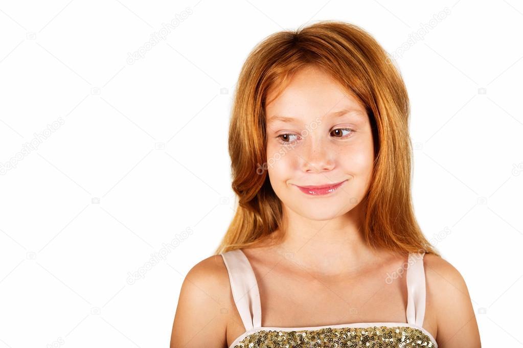 Studioaufnahme Der Entzückende Kleine 9 Jährige Mädchen Mit Roten