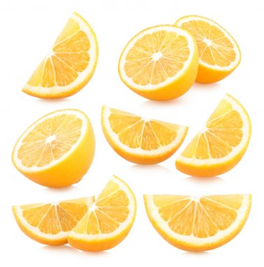 Set of lemon slices images on white background stock vector