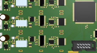 Printed Circuit Board green with elements