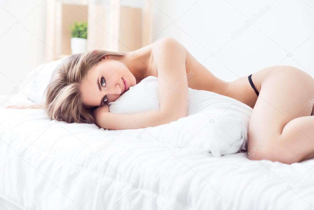 Sexually Attractive Girl Lying In Bed Stock Photo C Dmyrto Z