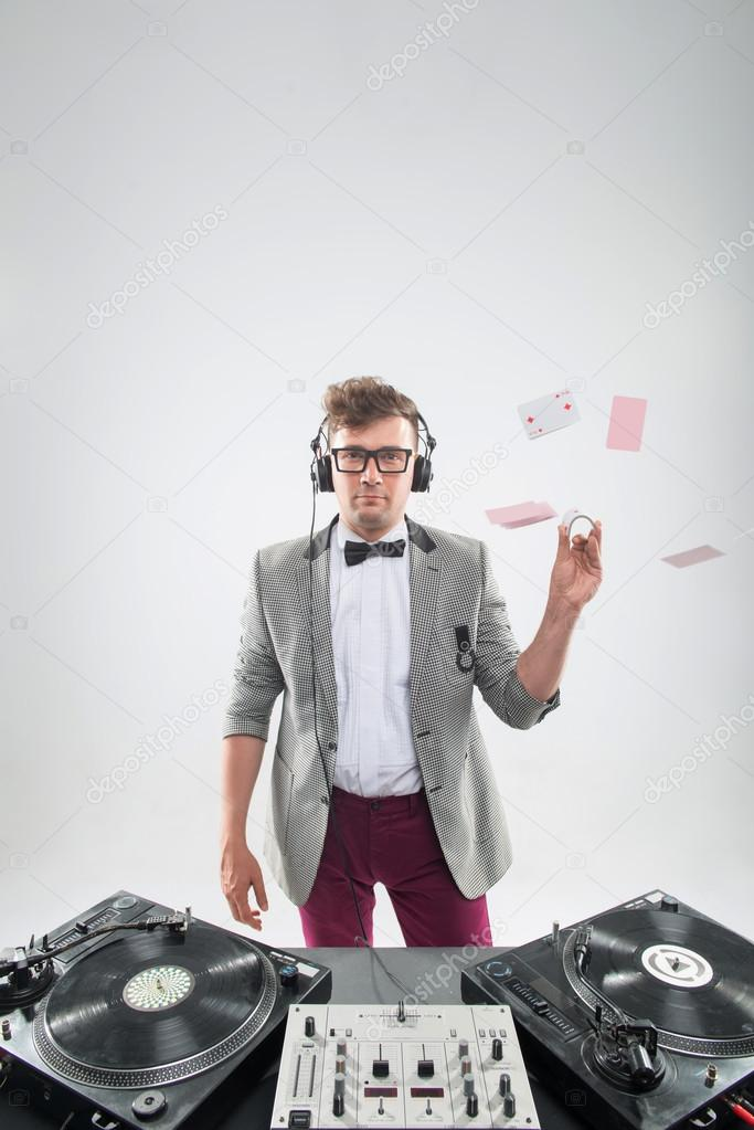 Dj at work isolated on white background